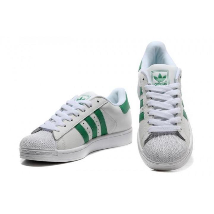 Кроссовки Adidas Superstar белые с зелеными полосками